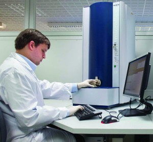 MALDI-TOF mass spectroscopy is increasingly being used to identify pathogenic bacteria,  mycobacteria, and fungi. Above, the MALDI Biotyper CA system by Bruker, which received FDA clearance in November 2013.
