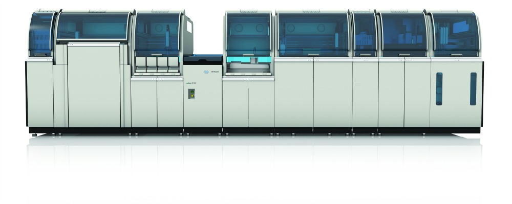 "The Cobas 8100 analyzer by Roche Diagnostics offers ""automation without compromise."""