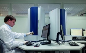 A technician performs clinical testing using the Bruker Microflex Biotyper.